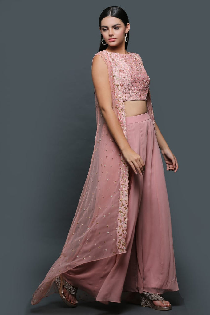 Pastel Pink Sharara With High Low Cape