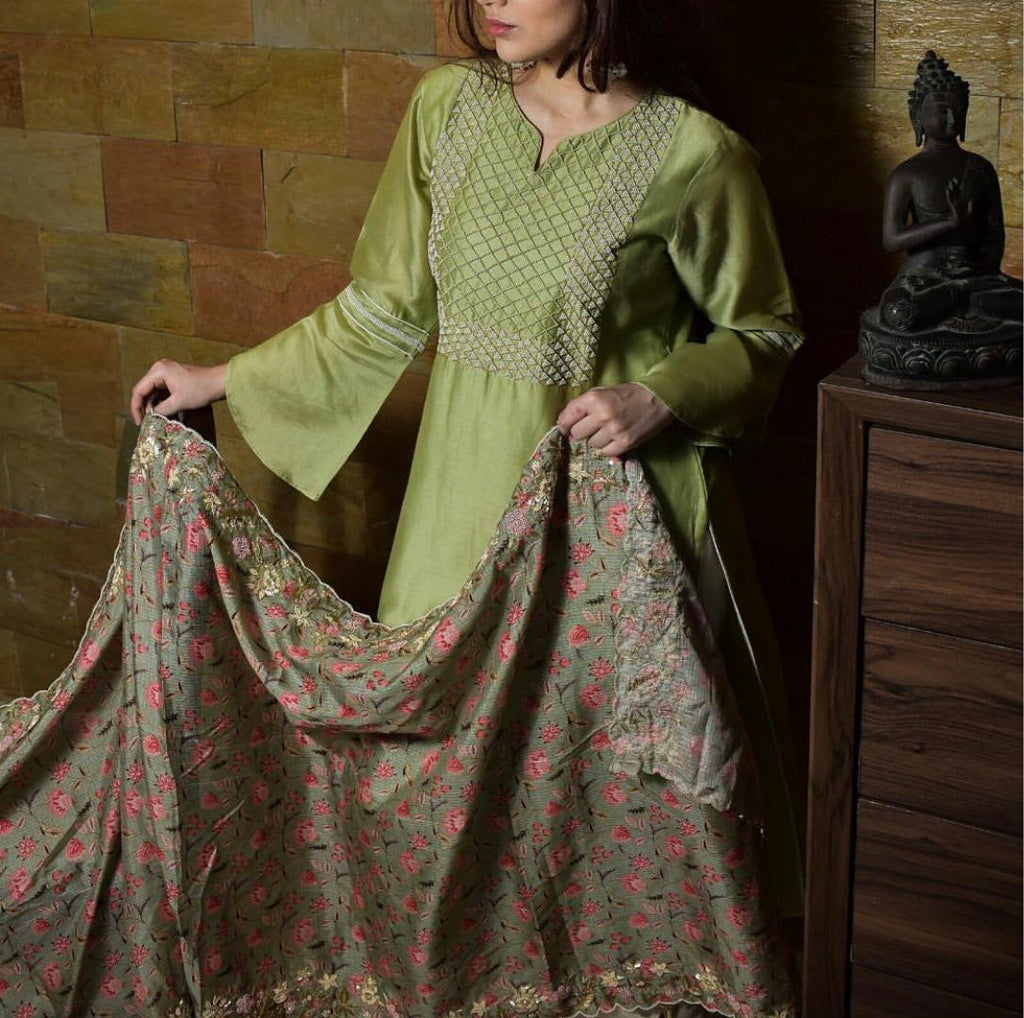 Green organic chanderi kurta set