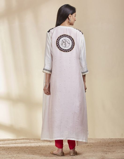 STRAIGHT KURTA SET WITH COVER UP IN TUSSAR MODAL