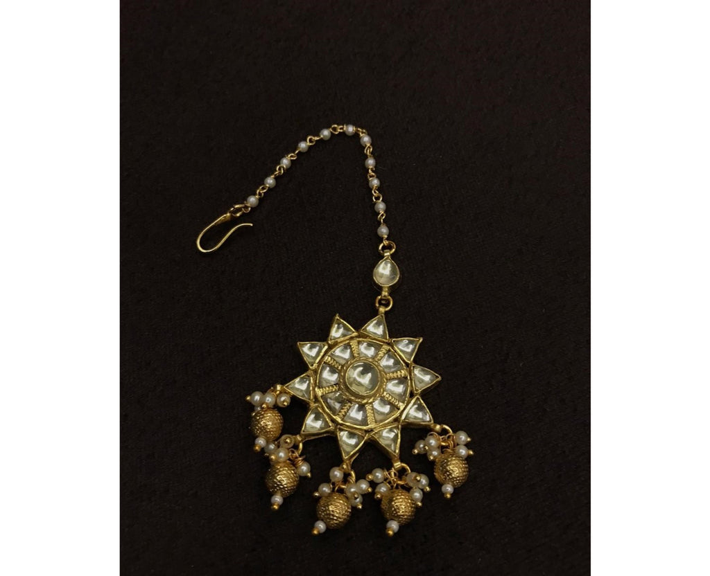 High Gold Plated Kundan Polki Maangtika