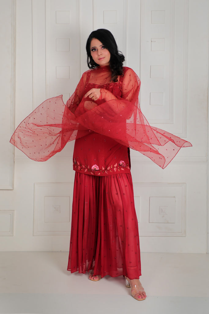 Embroidered sharara set with net dupatta