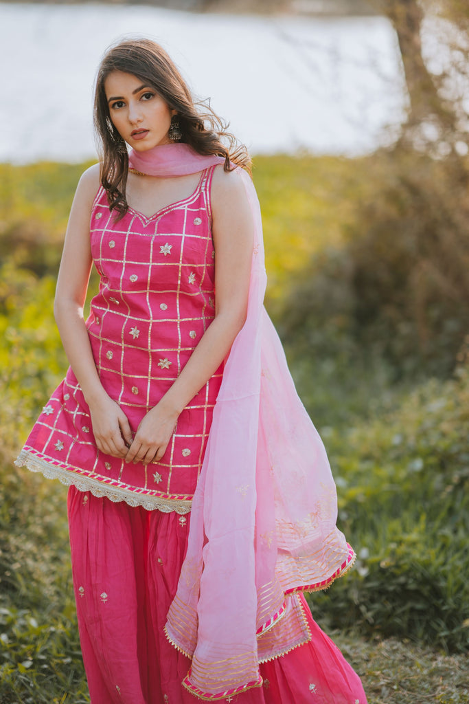 Gharara set with organza print dupatta