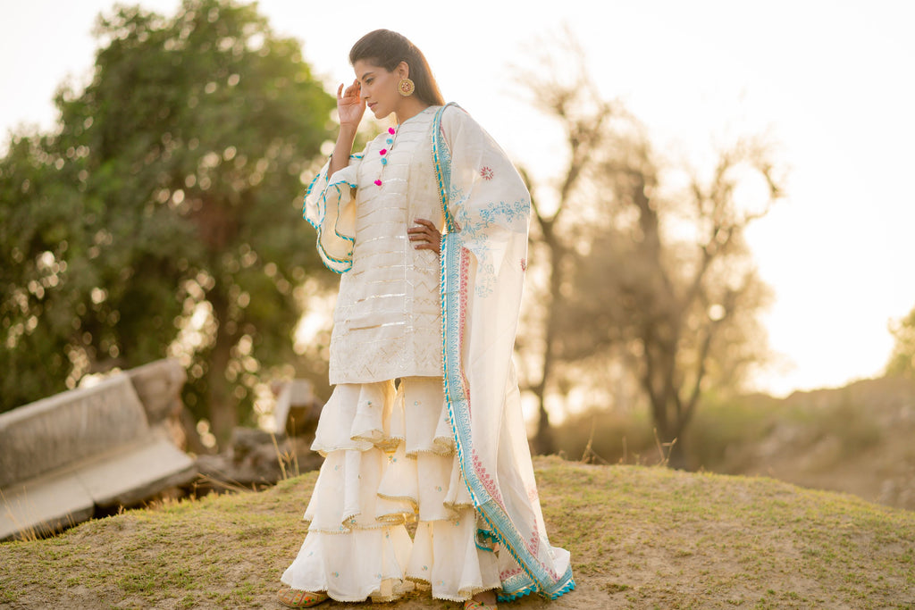 Double sleeve kurta with gharara and dupatta