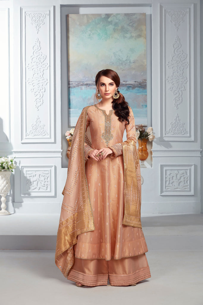 Peach tissue chanderi pallazo set