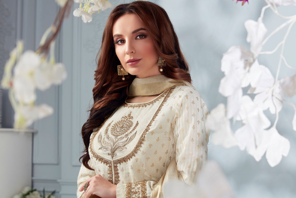 Cream anarkali suit with palazo pants
