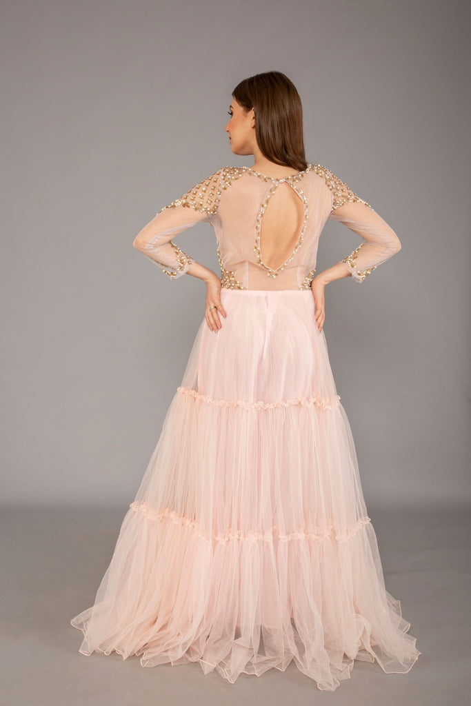 Light Rose Pink Backless Gown