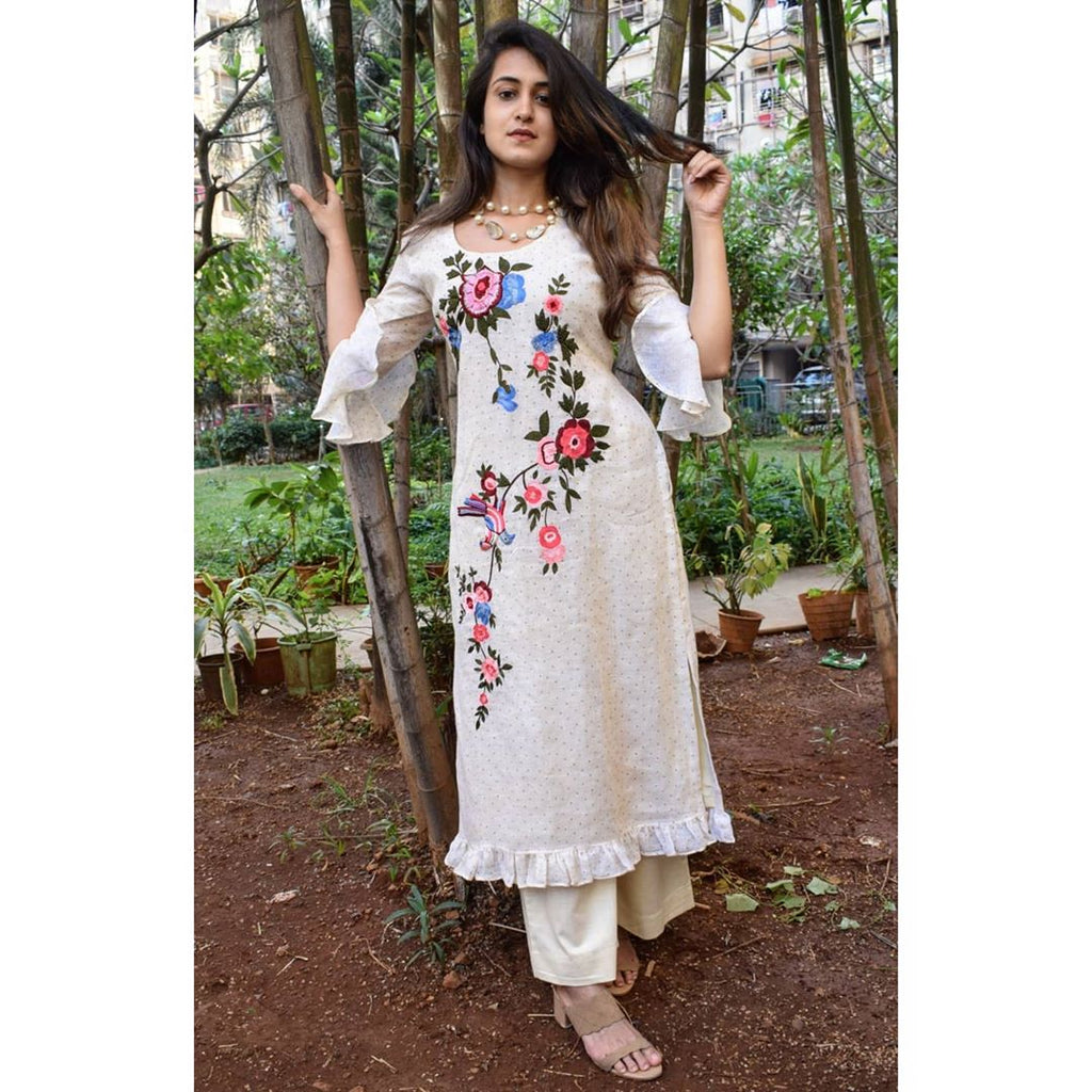 White kurta with floral embroidery