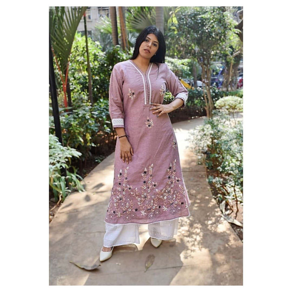 Pink heavy embroidered laced kurta