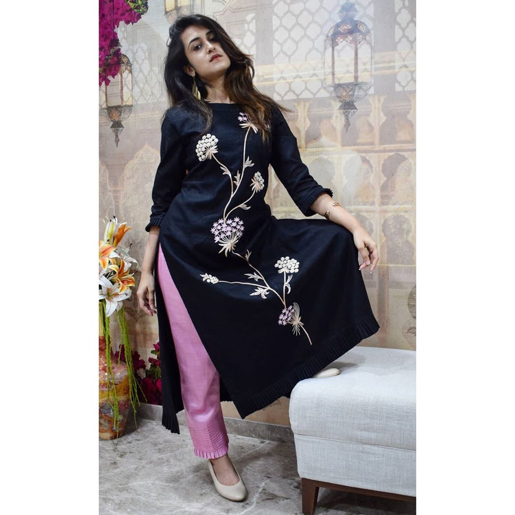Black kurta with floral hand embroidery