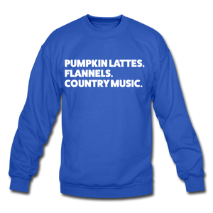 Lattes & Flannel Sweatshirt - royal blue