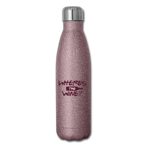 Wheres the wine Stainless Steel Water Bottle - pink glitter