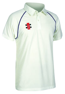 Upper Boys Cricket Polo Blue Trim (Crested)