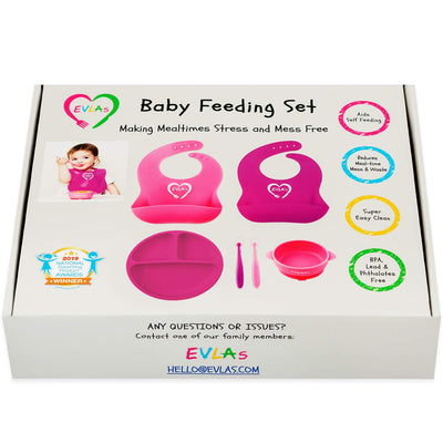 Complete Baby Feeding Set | Bright Pink & Purple