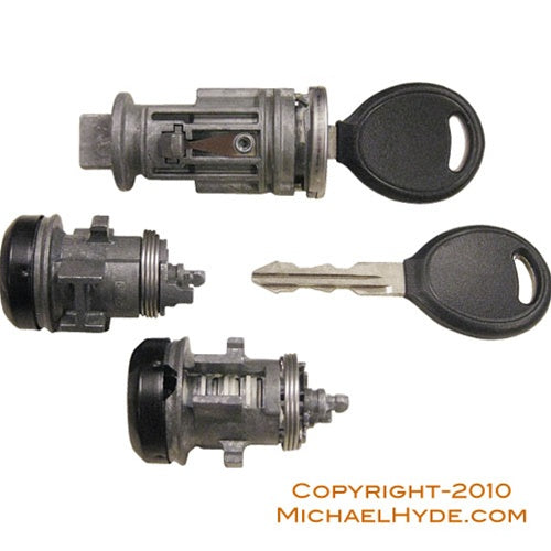 7012942 Chrysler Ignition-Door Lock Set BLACK (coded with keys) Strattec Lock Part
