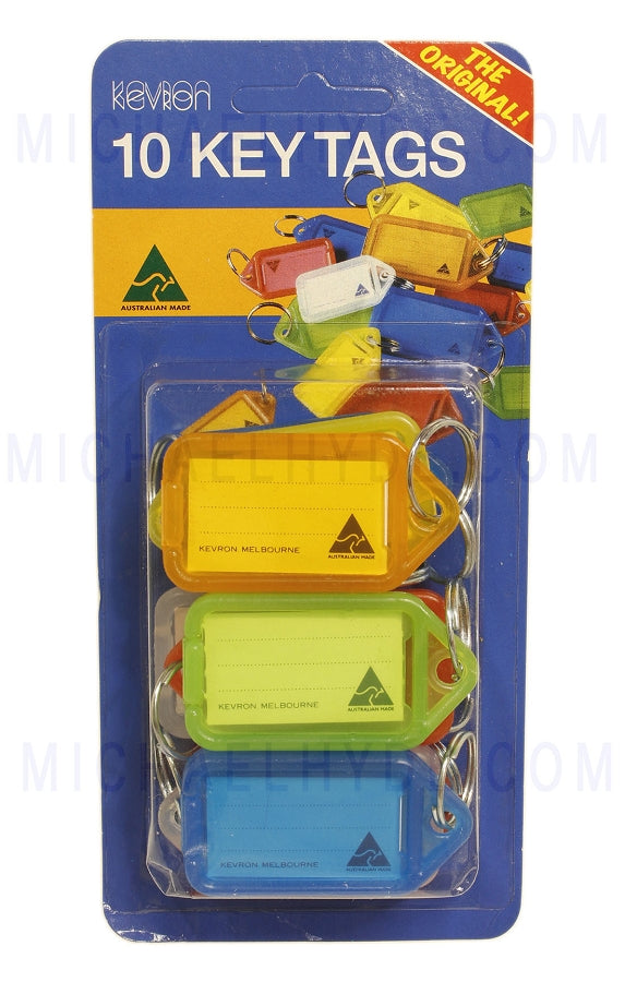 10 Pack Carded - Key Tags by Kevron - Random Colors - ID5-PP10