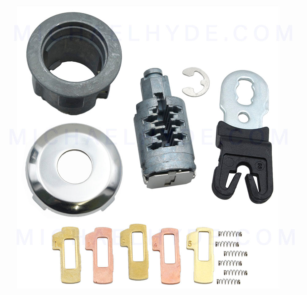Ford Door Lock Kit ASP D-42-261 Door Lock Cylinder with Tumblers, Springs & Chrome Face Cap - H75 Keyway - similar to previous numbers D-42-251 or DL5886U (D42261)