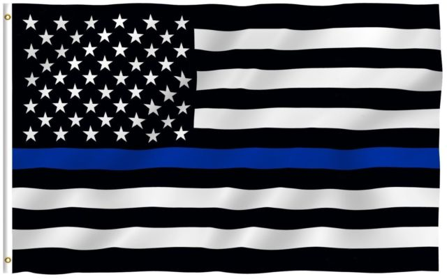 Thin Blue Line Flag 3' x 5' - The Thin Blue Line American Flag serves as a testament to the valor of police officers  across the country.