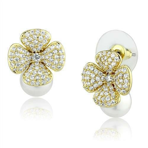 Flower with Pearl Gold Brass Earrings with Synthetic in White