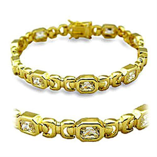 Square Gold Brass Bracelet with AAA Grade CZ in