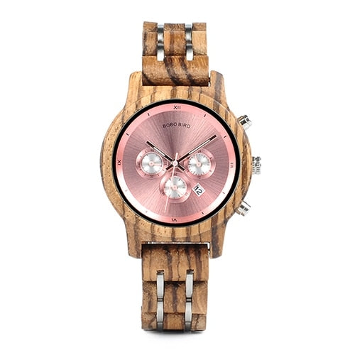 P18 Quartz Wooden Watch with Metallic Sphere