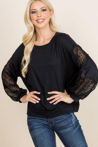 Solid Black Jersey Casual Women's Blouse
