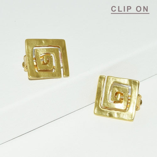 Square Spiral Clip On Earrings