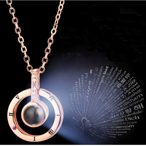 Hot Rose Gold & Silver 100 languages I love you Necklace