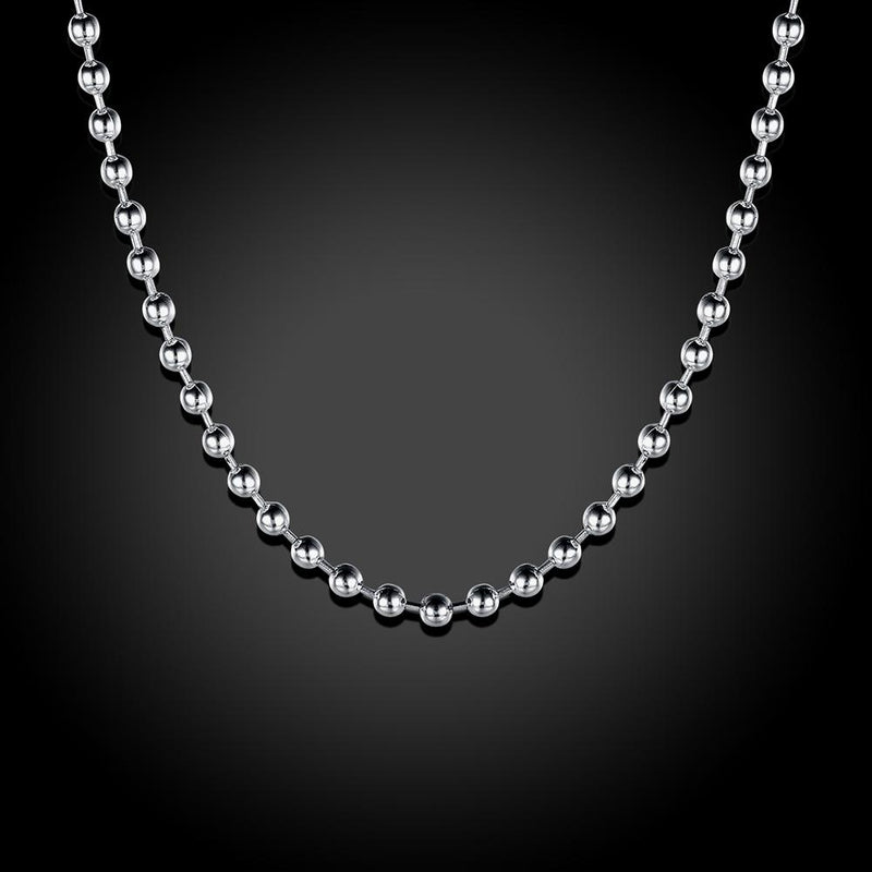 2mm Bead Chain Necklace in 18K White Gold Plated