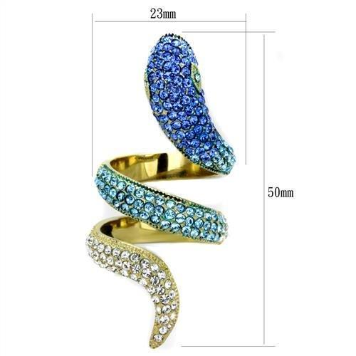 Sparkly Serpent on Gold(Ion Plating) Stainless Steel Ring