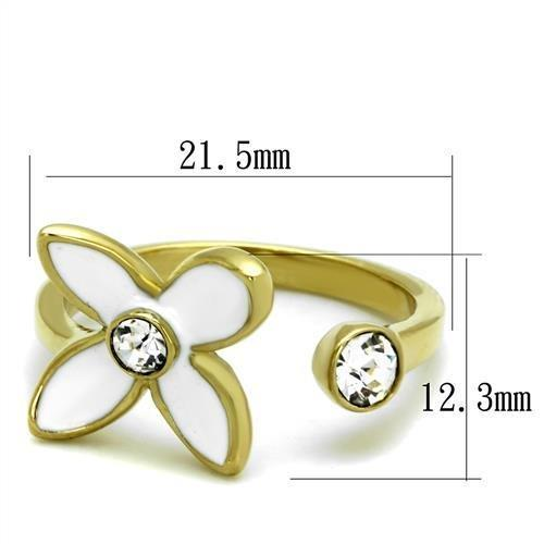 White Flower Gold(Ion Plating) Stainless Steel Ring