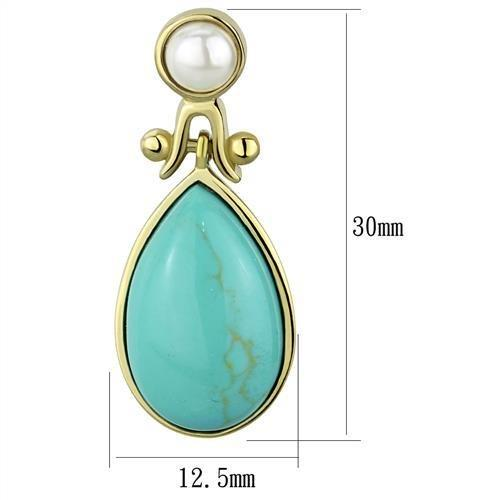 Drop Turquoise Earrings w Gold(Ion Plating) Stainless Steel