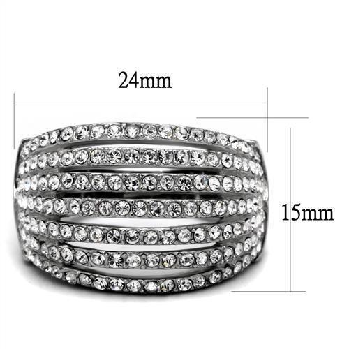 Multi Layer Crystal Ring High polished (no plating) Stainless Steel