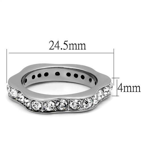 Curvy Crystal Ring High polished (no plating) Stainless Steel
