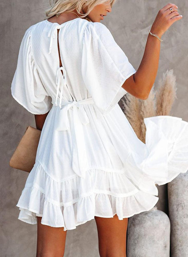 V Neck Ruffle Layered Swing Mini Dress with Waist Belt