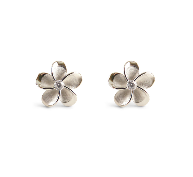 Plumeria Sterling Silver Stud Earrings 12mm