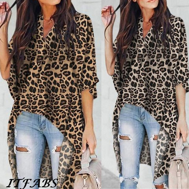 Leopard High Low Casual Blouse