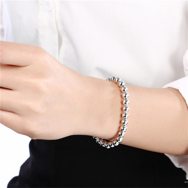 Silver 925 -  4mm Bead Ball Chain Necklace and Bracelet Set