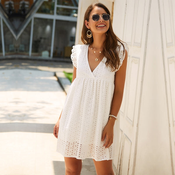 Solid Hollow Out  Short Dress
