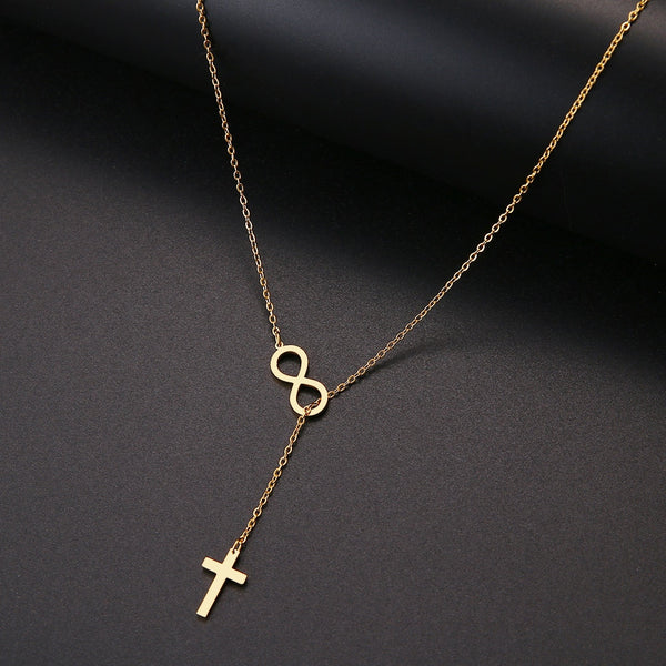 Long Pendant Cross Necklace in Stainless Steel