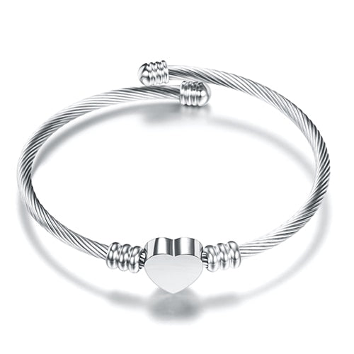 Stainless Steel  Bijoux  Heart Bangles