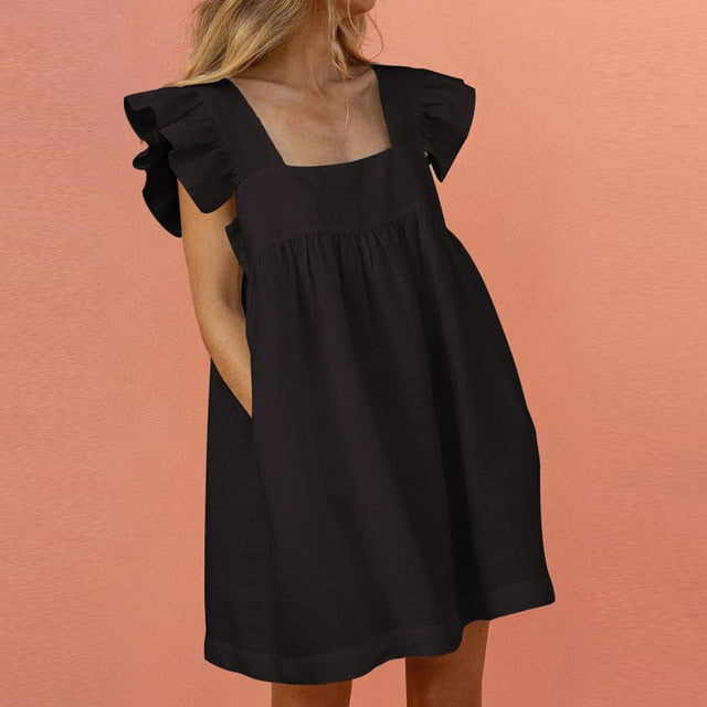 Elegant Butterfly Sleeve Ruffle Mini Dress