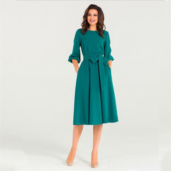 High Waist -  A Line Ladies Midi Dress