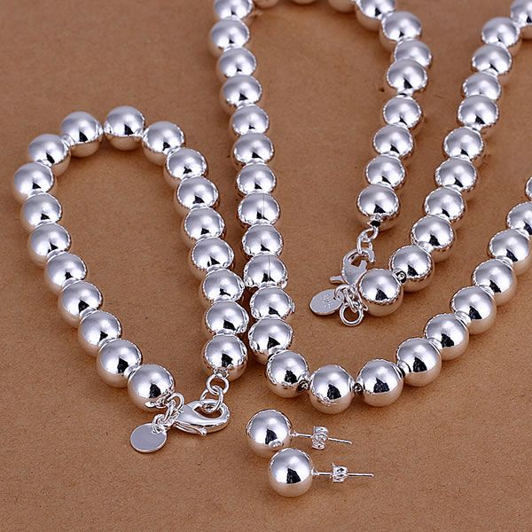 925  Silver Color Bean Three-Piece Jewelry Sets  10mm