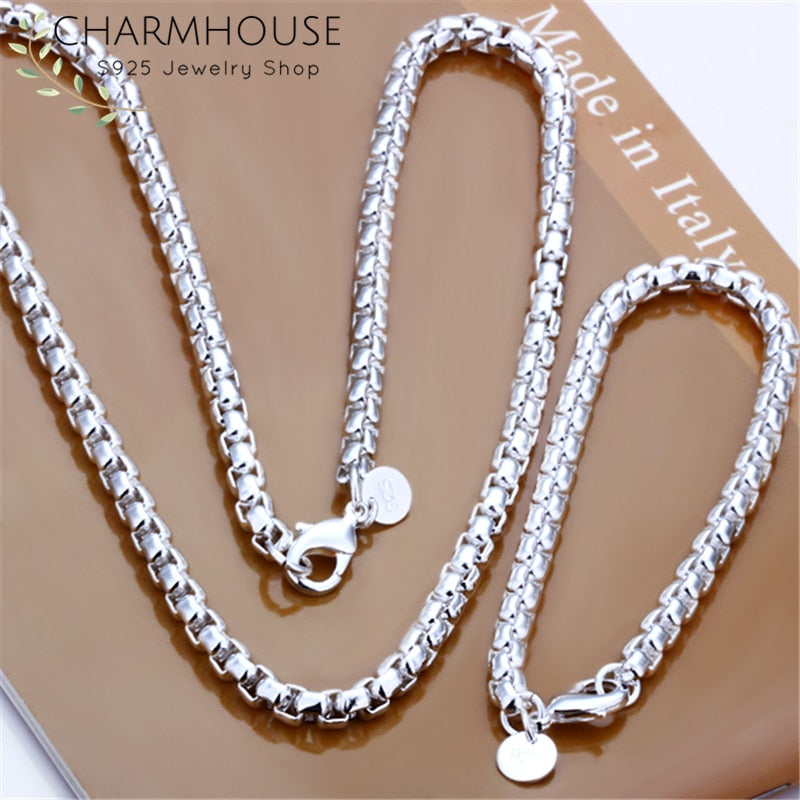Silver 925  Round Box Chain Necklace and  Bracelet Jewelry Set