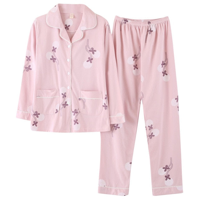 Womens Pajamas Sets Long-sleeved
