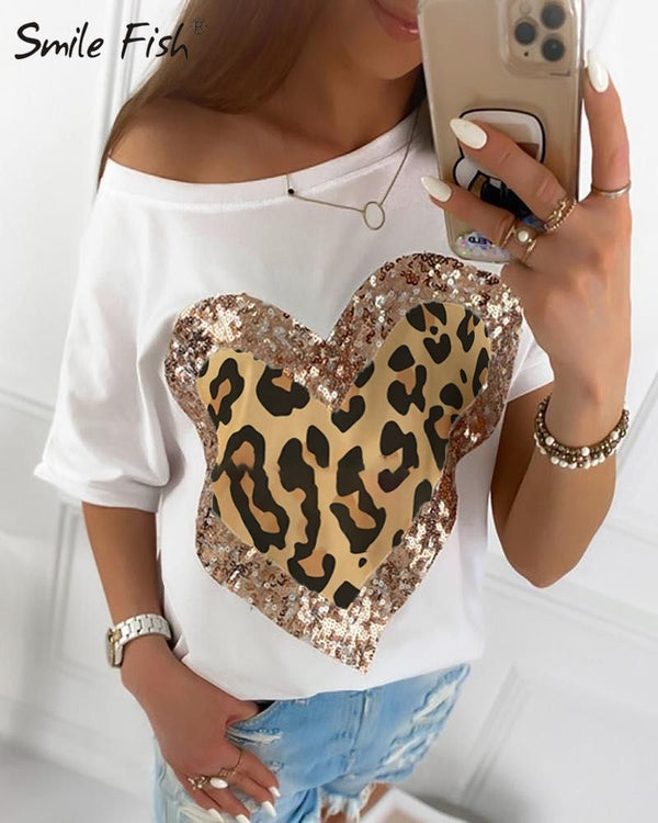 Sequined Leopard Heart Printed Casual Black White Shirt