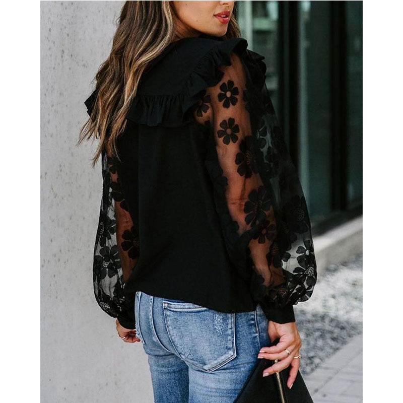 Elegant Mesh  Blouse Long Sleeve Blouse