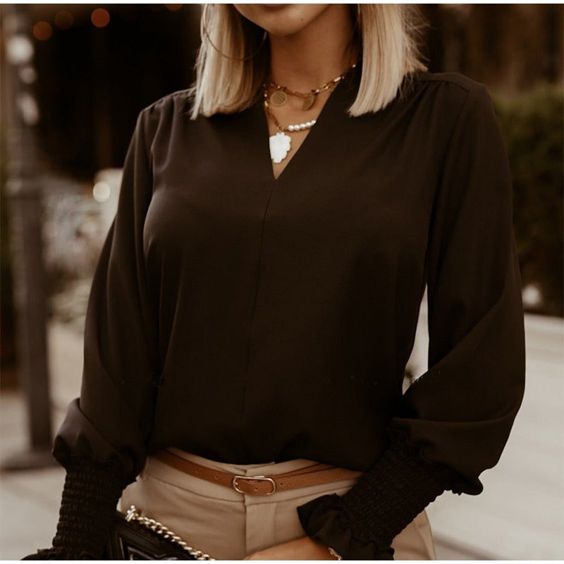 Ruffled  Long Sleeve Female Blouse
