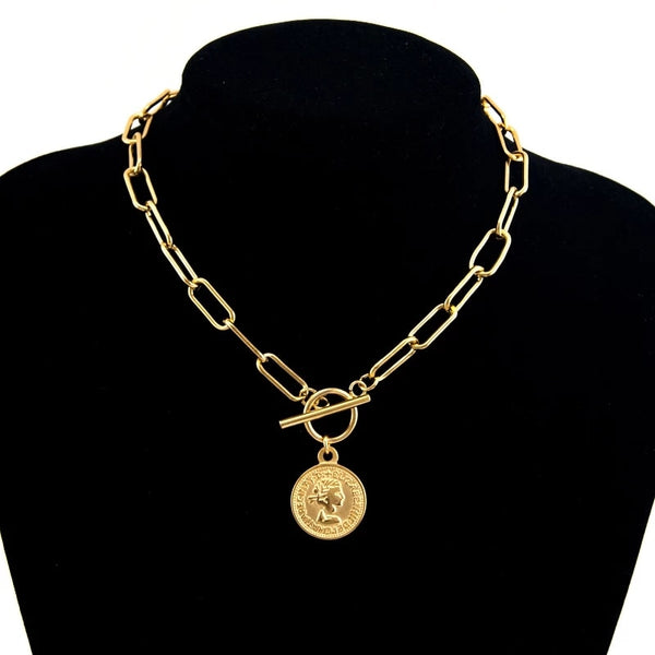 Stainless Steel Vintage Carved Coin Necklace