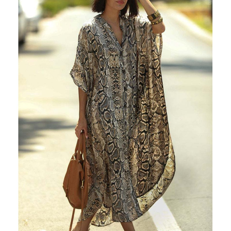 One Size Beach Cover-up with  SnakeSkin  Print
